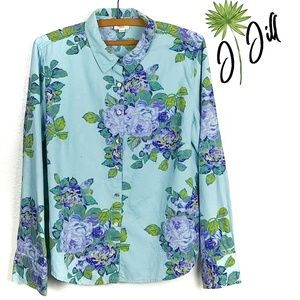 J.Jill Textured Floral Print Long Sleeve Blouse